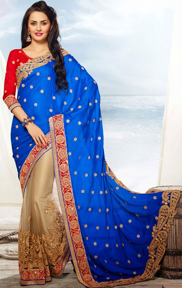 Butta Beige and Blue Color Wedding Embroidered Saree