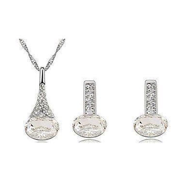 Witte kristalen zilver kleur ketting met hanger, oorbellen