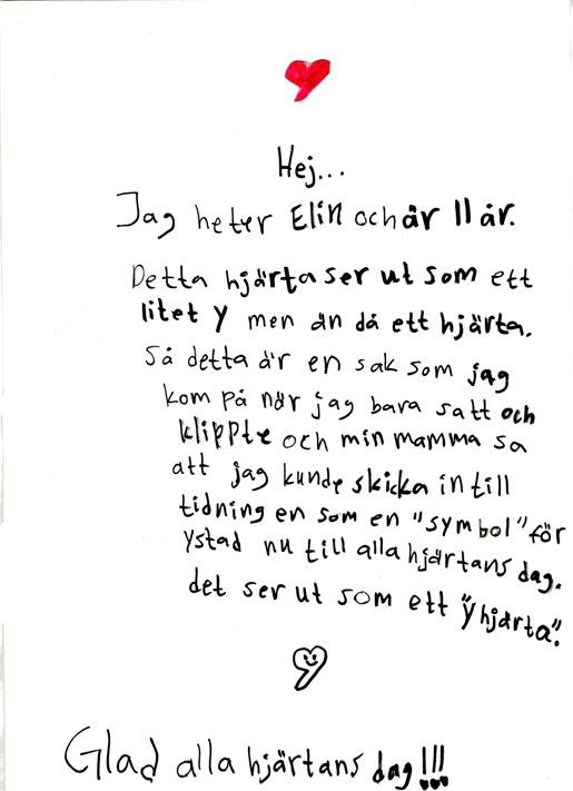 Ystads kommun - 11-åriga Elins Alla-hjärtans-dag-hälsning från Ystad