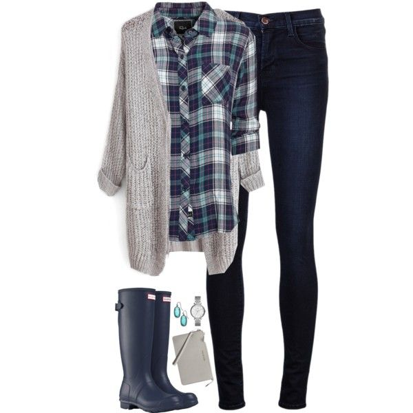 Navy & teal plaid with gray cardigan by steffiestaffie on Polyvore featuring Rails, J Brand, Hunter, MICHAEL Michael Kors, FOSSIL, Kendra Scott, women's clothing, women's fashion, women and female