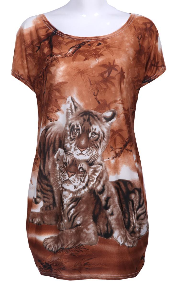#SheInside Camel Batwing Short Sleeve Tiger Print Oversized T-shirt - Sheinside.com