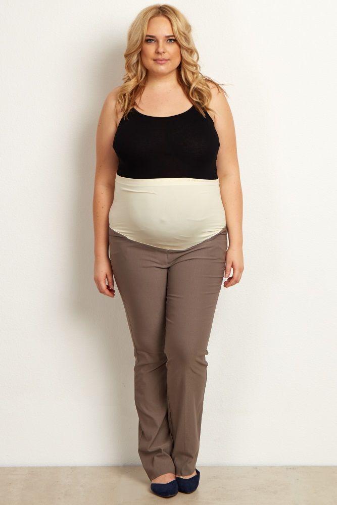 Taupe Straight Leg Plus Size Maternity Dress Pants 11