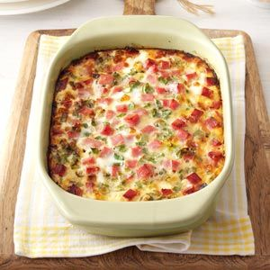 Farmer's Casserole -3 cups frozen shredded hash brown potatoes, 3/4 cup shredded Monterey Jack cheese, 1 cup cubed fully cooked ham, 1/4 cup chopped green onions, 4 eggs, 1 can (12 ounces) evaporated milk, 1/4 teaspoon pepper, 1/8 teaspoon salt.