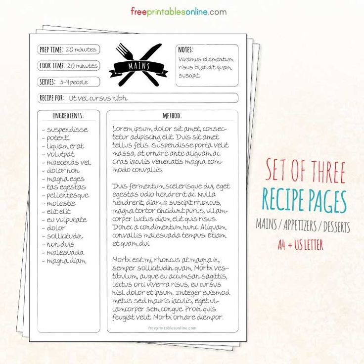Recipe Pages Template  CityEsporaCo