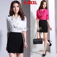 XXXL Women's Business Clothes 2014 Summer Autumn Work Wear Ladies Blouse Skirt Suits Female Professional Shirt Office Formal Set