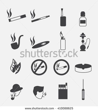 smoking silhouettes icon set (include electronic cigarette)