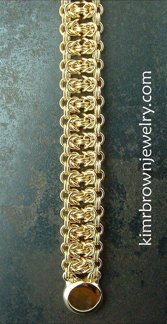 Byzantine Bar Handmade Bracelet in 18K Solid by kimrbrownjewelry