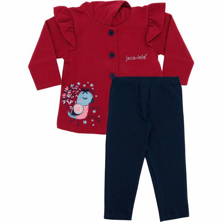 Conjunto Infantil Feminino Moleton e Legging Vermelho - Jaca-Lelé :: 764 Kids | Roupa bebê e infantil