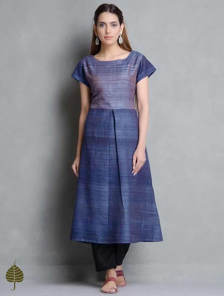 Buy Blue Purple Tussar Gicha Kurta by Jaypore Apparel Tunics & Kurtas Into the Wild Handwoven Tops Silk Cotton Pants Online at Jaypore.com