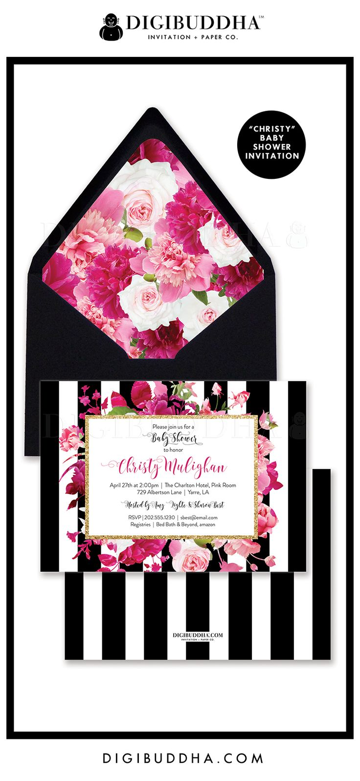 "Baby Shower Invitation, ""Christy"" style with a gorgeous classic black and white stripe pattern overlaid with florals in lush shades of pink. Modern calligraphy, black envelope & floral envelope liner also available, at digibuddha.com"