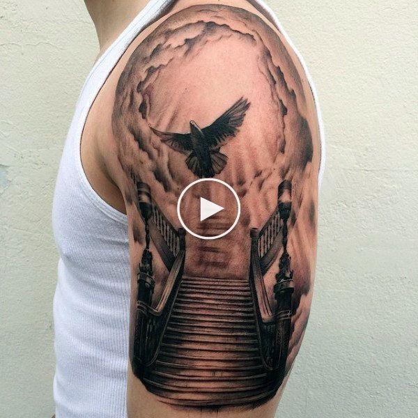 50 Sky Tattoos For Men Higher Place Design Ideas Sky Tattoos Heaven Tattoos Half Sleeve Tattoos Designs