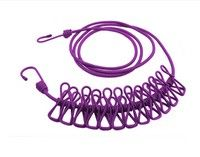 Home | Outdoor Portable Clothes Line Camping Travel Stretchy Clothesline 12 Clips Purple