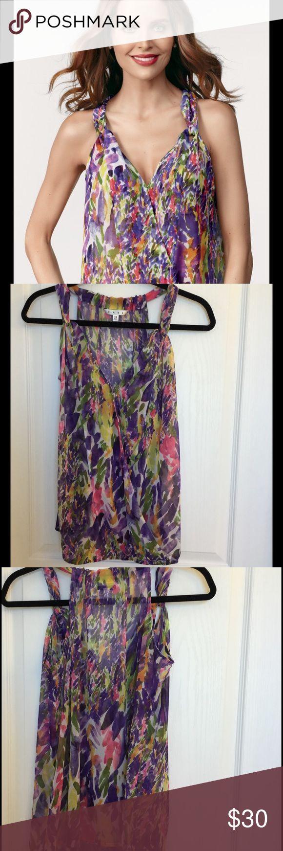 (CAbi) Petals floral chiffon drape front top (CAbi) Petals floral chiffon drape front top. CAbi Tops