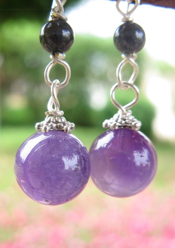 Earrings made from mysterious and magical Amethyst