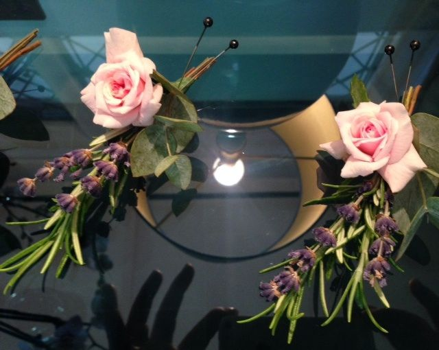 Button holes of rosemary, lavender and rose buds