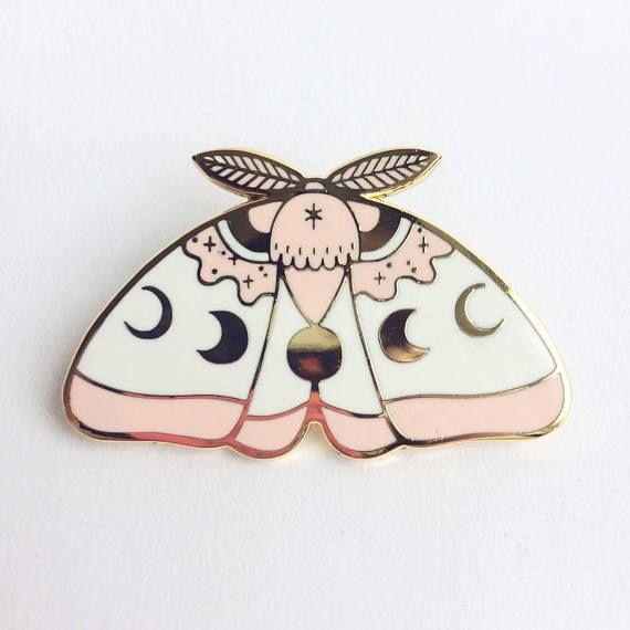 Pink MoonMoth hard enamel lapel pin