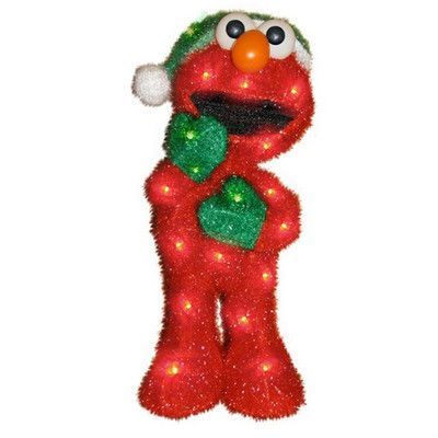 Product Works Soft Tinsel Sesame Street Elmo Christmas Decoration with Lights