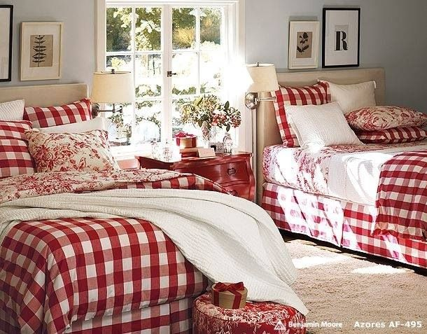 Love the painted red bed side table