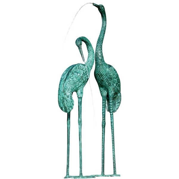 Universal Lighting and Decor Extra Large Crane Pair Pond or Water... ($3,130) ❤ liked on Polyvore featuring home, outdoors, animals, birds, fillers, green, doodle, fountains and fountain