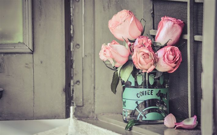 Download wallpapers pink roses, beautiful bouquet of flowers, roses, floral decoration, retro style