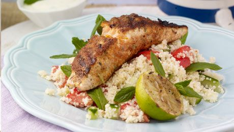 Click like if you'd like to try Blackened Salmon with Couscous and Lime dressing! #Fish