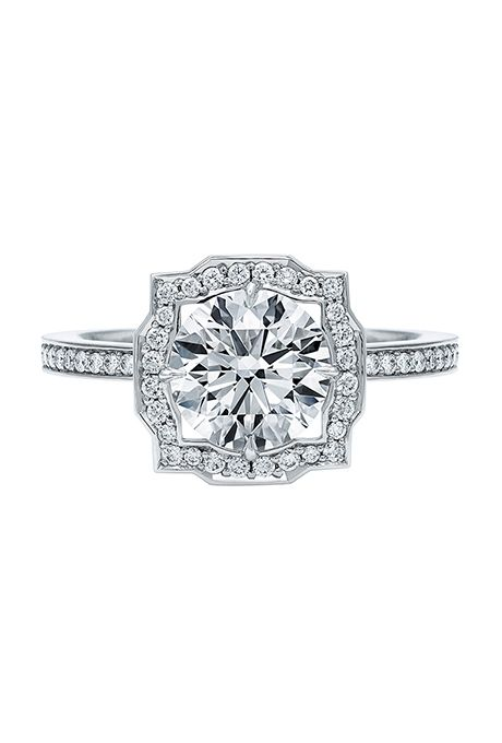 Brides: Harry Winston. Belle by Harry Winston round brilliant diamond engagement ring, price upon request, Harry Winston                                                                                                                                    Photo:  Courtesy of Harry Winston                                                                                                                                                                                    Featured In: Vintage Engagement…