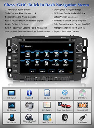 2007-2013 Chevrolet Silverado 1500 2500HD 3500HD Tahoe Avalanche GMC Sierra 1500 2500HD 3500HD Yukon In-dash GPS Navigation Radio Satellite XM DVD Bluetooth Touch Screen AV Receiver CD Player Stereo SD USB FM AM iPod-Ready OEM Fit Replacement Deck w/ Copyrighted NNG iGo Navteq Updatable Maps Astrium GEE-1102S - http://www.caraccessoriesonlinemarket.com/2007-2013-chevrolet-silverado-1500-2500hd-3500hd-tahoe-avalanche-gmc-sierra-1500-2500hd-3500hd-yukon-in-dash-gps-navigation-r