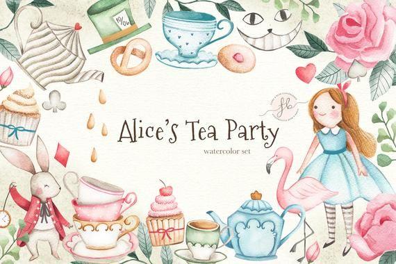 Alice In Wonderland Tea Party Watercolor Clipart Alice In