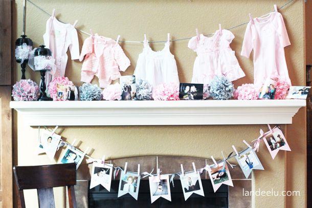 Розовый и серый Baby Shower Декор и Идеи | landeelu.com простая и недорогая декор для сладкой розовой и серой душа ребенка!