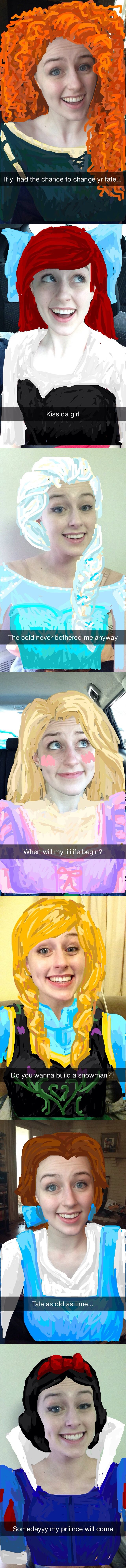 HOW IS THIS POSSIBLE. DOES SHE DO ANYTHING ELSE WITH HER LIFE?? Disney Princess Snapchats