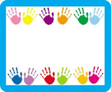 Handprints name tags adhesive and preschool decorations for Preschool name tags ideas