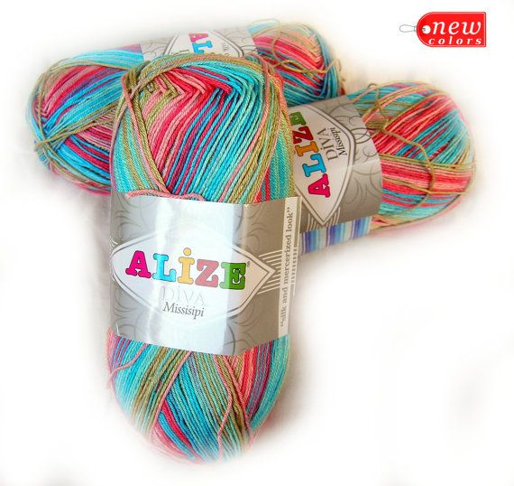 Alize Diva Missisipi, multicolor (selfstriping) yarn in shades of ...