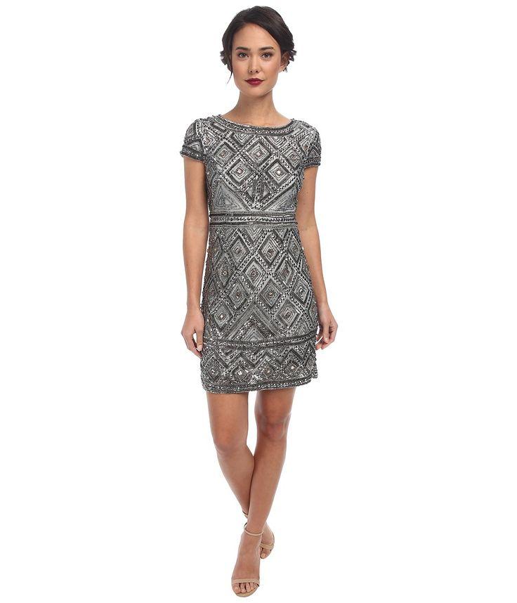 Adrianna Papell Cap Sleeve Geo Bead Sheath (Slate) Women's Dress