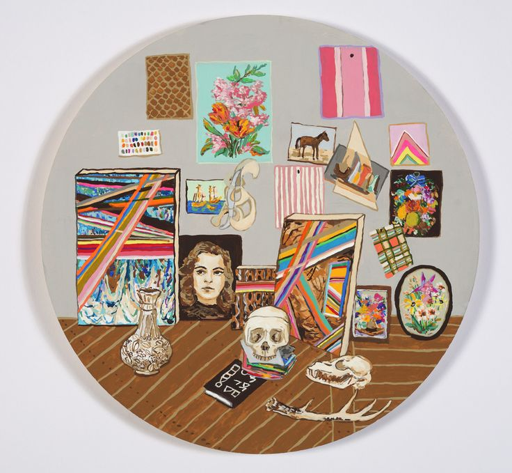"""The Studio Tondo"" by Kirstin Lamb, 2012, Gouache on Paper on Board, 12 inches diameter"
