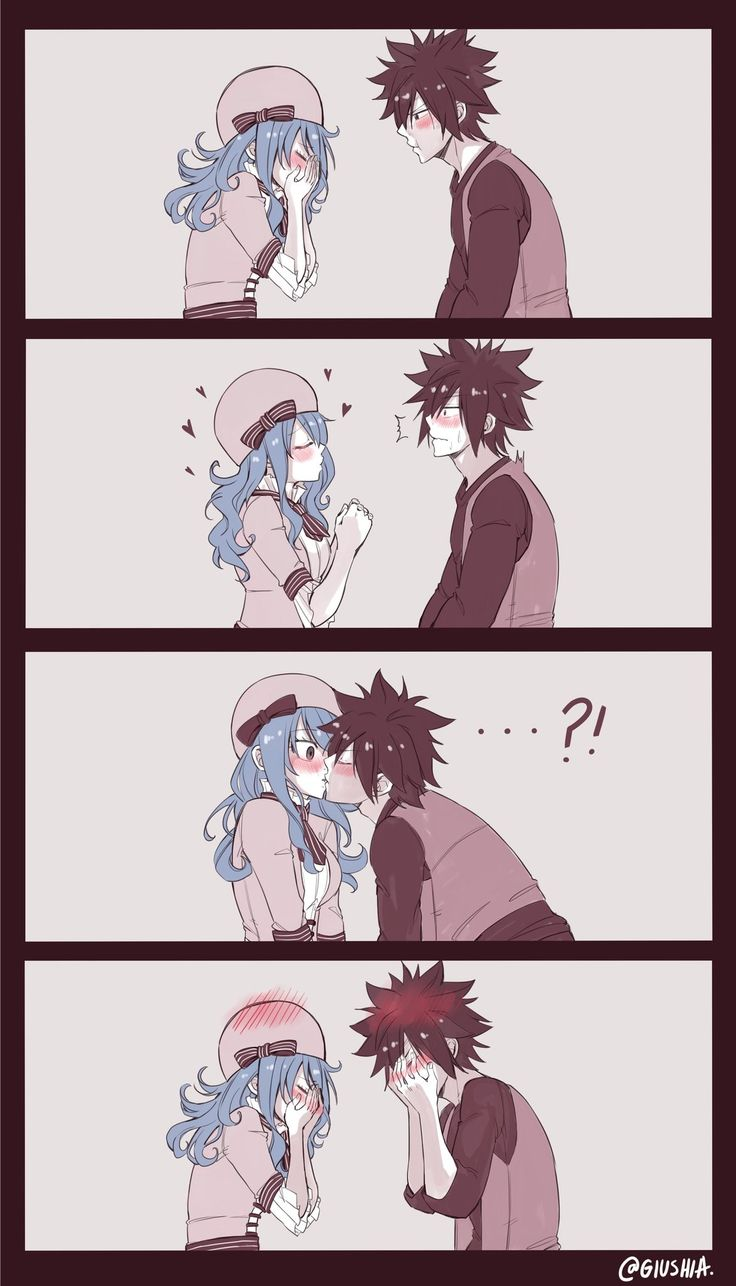 "Juvia-""g-gray~sama i-i love you"" Gray-""..."" Juvia""i-i know y-you don't l-like me ba--"" Gray-*kisses her* Juvia-*blushes lots* Gray-*blushes*"