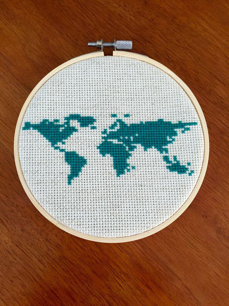 World map cross stitch