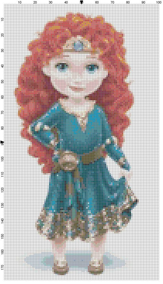 Mini Merida cross stitch pattern PDF by Bluegiantstitch on Etsy, £1.20