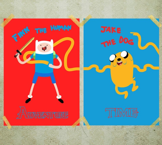 Adventure Time Finn and Jake double poster Print 2x  by MixPosters,