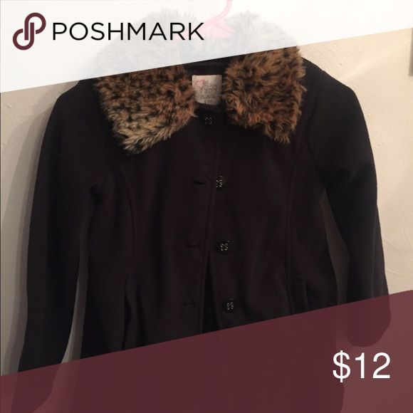 Girls peacoat with faux fur collar Black coat with faux fur leopard collar that is removable Children's Place Jackets & Coats Pea Coats