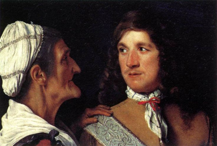 Michael Sweerts, Museum het Louvre, Parijs. De jonge man en de koppelaarster, een klein juweeltje van slechts 19 bij 27 cm. De gladgeschoren jonge man, met dunne lippen, een aankomende snor  en een stevige neus kijkt de koppelaarster in de ogen.  Ze is oud, ruig, met een snavelvormige neus en een puntige kin.   Ze legt haar hand vol vertrouwen op de schouders van de jonge man  en vertelt hem wat het kost…………