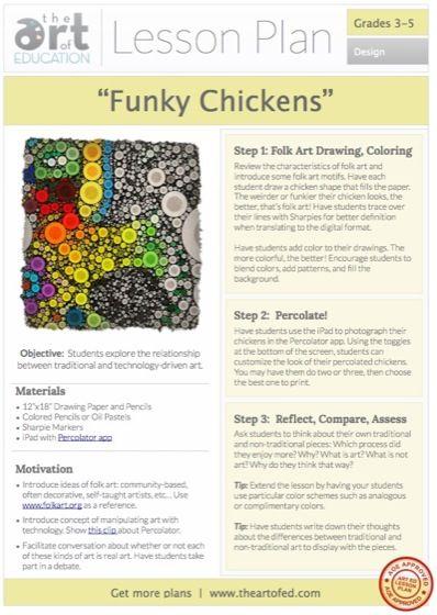 Funky Chickens Lesson Plan Download Art Pinterest Folk Art Technology And Art Elements