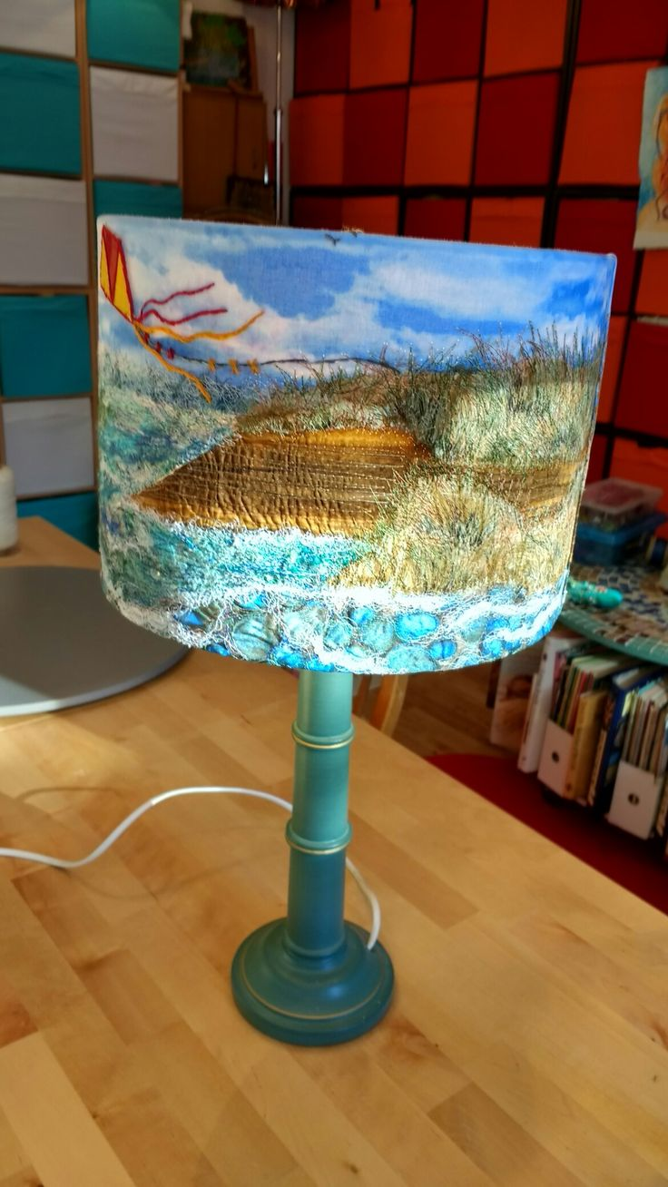 Free Machine Embroidered Lampshade Seascape By Nicola
