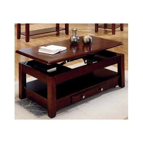 Lift top coffee table in cherry finish with storage drawers and bottom shelf logan http www Lift top coffee tables storage