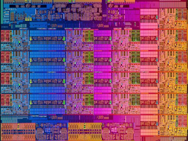 A close up of the Haswell-EX Xeon E7-8890 V3 multicore processor chip shows 18…