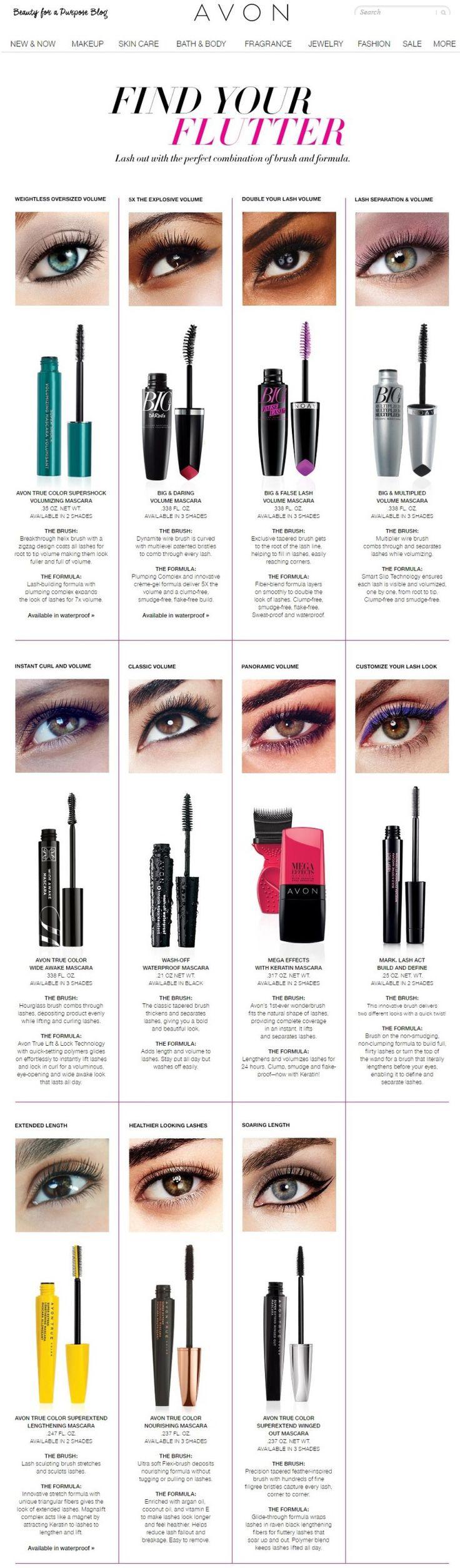 Avon Mascara Guide - Find your flutter and choose the right Avon Mascara for you.  Buy Avon Mascara at:  https://www.avon.com/category/makeup/eyes/mascara?rep=barbieb #mascara #avon #perfect #makeup #avonrep #beautywithbarb #barbieb_beauty #avonmakeup
