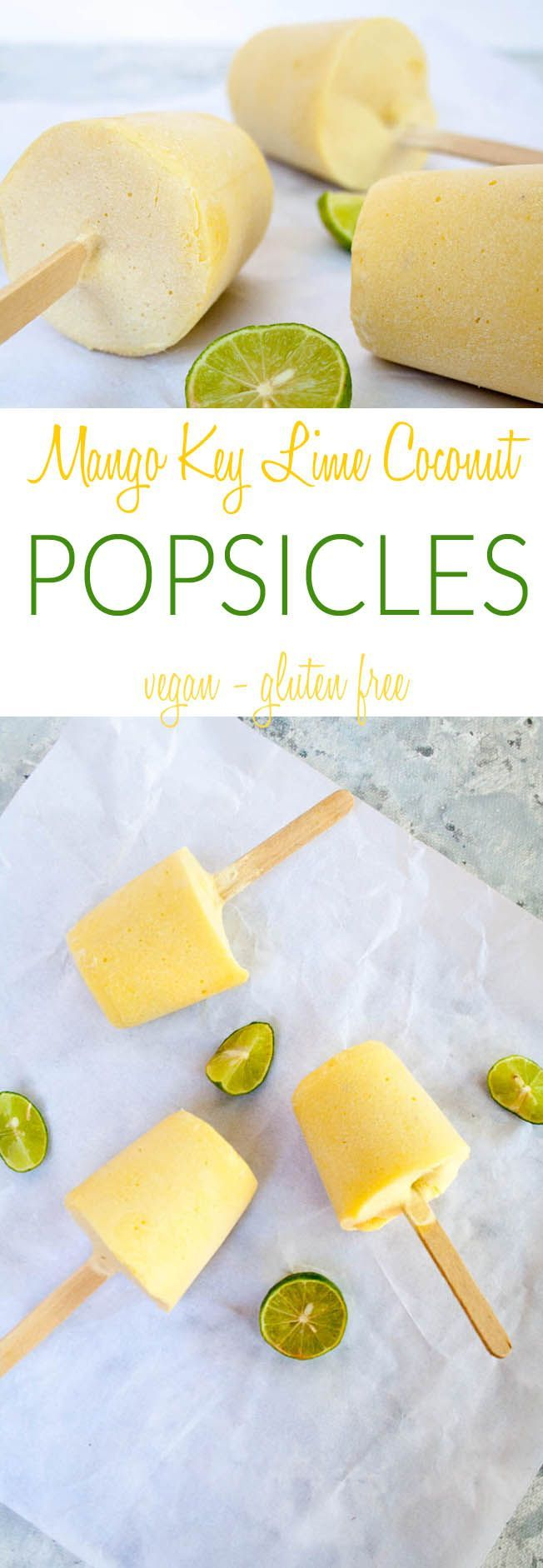 Mango Key Lime Coconut Popsicles (vegan, gluten free) - These cool treats have tropical flavors that are sure to please! No special equipment needed!