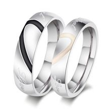 2015 New Fashion Heart Ring Lovers Wedding Rings Stainless Steel Wedding Rings for Men and Women(China (Mainland))