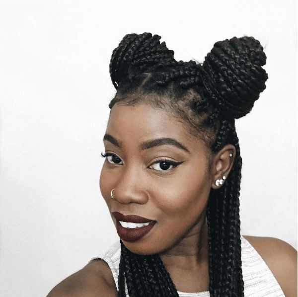 12 Hairstyles You Can Create With Box Braids shows various styles from top knots to pigtails and more that you can create using this great protective style