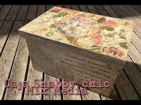 Caja de madera Shabby Chic Mixed Media. Decoración de madera DIY. Más info y lista de materiales en el blog: http://www.manualidadesybellasartes.es/8148/es/Productos/136zs140-14002106/set-3-cajas-de-madera-grandes-artemio.aspx