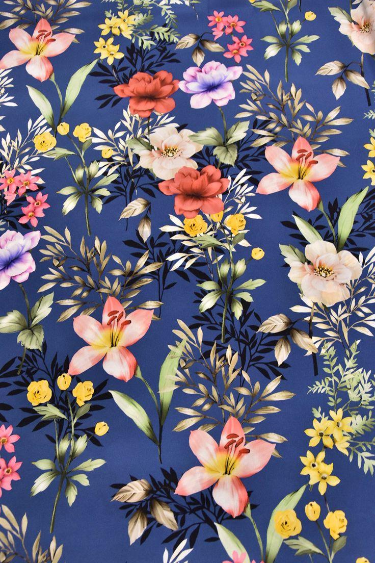 Купить Шелк крепдешин плотный стрейч красивый рисунок синий фон коралловые желтые малиновые цветы Dolce&Gabbana (3691) в интернет-магазине AltaModa бутик итальянских тканей по доступной цене.